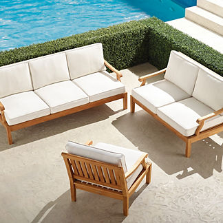 Cassara 3-pc. Sofa Set in Natural Finish
