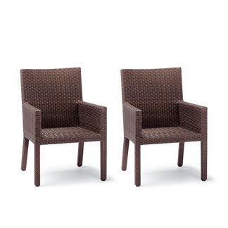 Palermo Set of Two Dining Arm Chairs in Bronze Finish