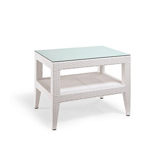 Palermo Glass-overlay Side Table in White Finish