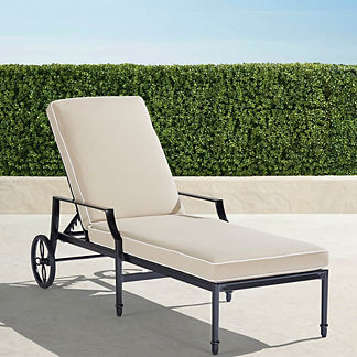Grayson Chaise Lounge Chair with Cushions in Black Finish, Special Order