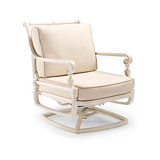 Carlisle Swivel Lounge Chair with Cushions in Parisian Ivory Finish
