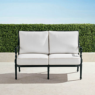 Carlisle Loveseat with Cushions in Onyx Finish, Special Order