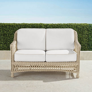 Hampton Loveseat with Cushions in Ivory Finish, Special Order