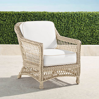 Hampton Lounge Chair with Cushions in Ivory Finish