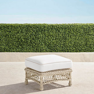 Hampton Ottoman with Cushion in Ivory Finish, Special Order
