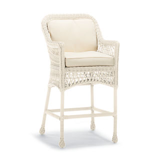 Hampton Bar Stool with Cushions in Ivory Finish, Special Order