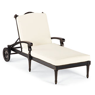 Glen Isle Chaise Lounge With Cushions In Midnight Gold Finish
