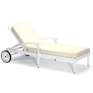 Glen Isle Chaise Lounge with Cushions in White Finish