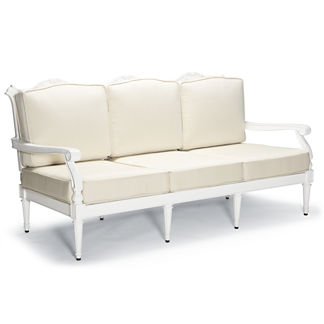 Glen Isle Sofa with Cushions in White Finish