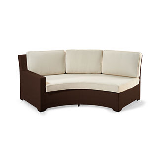 Palermo Left-facing Curved Sofa with Cushions in Bronze Finish