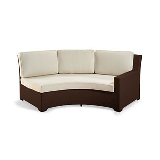 Palermo Right-facing Curved Sofa with Cushions in Bronze Finish
