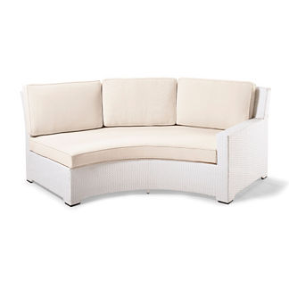 Palermo Right-facing Curved Sofa with Cushions in White Finish, Special Order