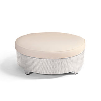 Palermo Round Cocktail Ottoman with Cushion in White Finish, Special Order