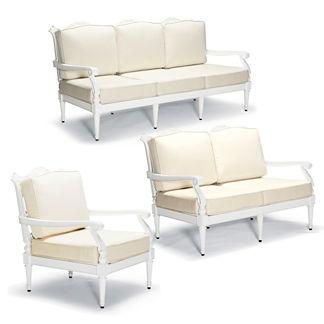 Glen Isle 3-pc. Sofa Set in White Finish