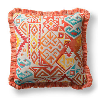 Kilim Chic Fiesta Outdoor Pillow with Fringe