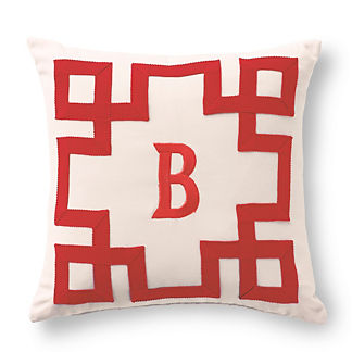Maiandros Garnet Monogrammed Outdoor Pillow