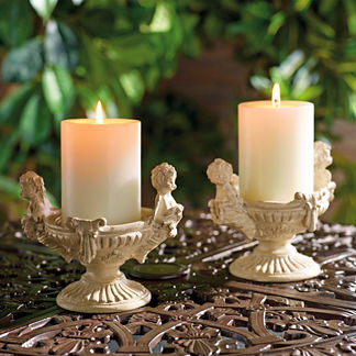 Cherub Candleholders, Set of Two