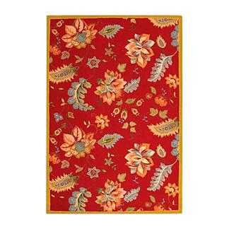 Jacobean Hand-Hooked Wool Rug
