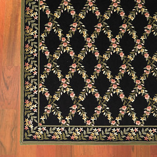Floral Lattice Wool Area Rugs