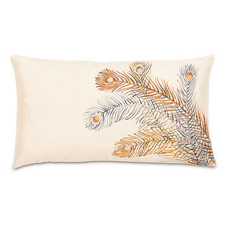 Metallic Peacock Feather Pillow