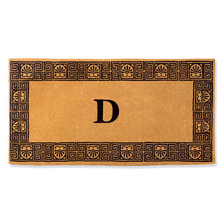 Greek Key Single Initial Door Mat