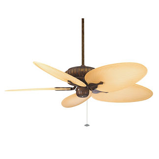 Naples Outdoor Ceiling Fan in Aged Bronze with Natural Blades