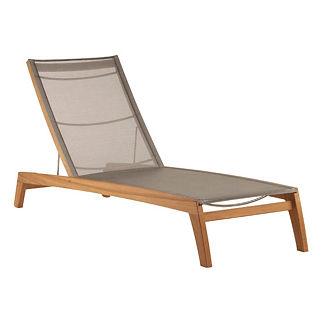 Horizon Teak and Sling Chaise Lounge