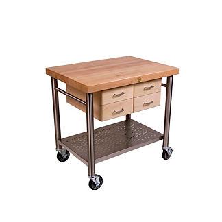 Maple & Stainless Steel Prep Cart