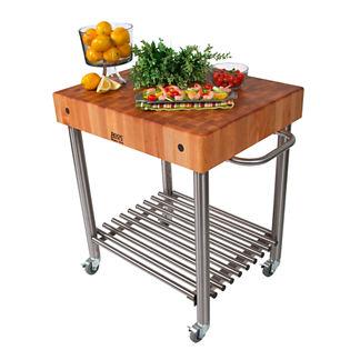 Prep Cart with Butcher Block Top