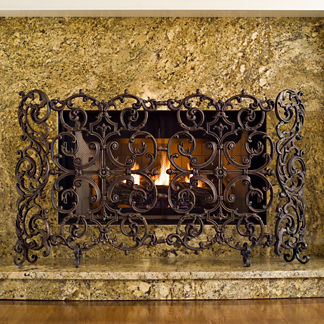 Classic Two Panel Cast Iron Fireplace Screen with Sides