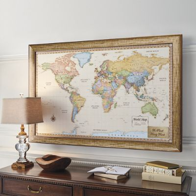 world magnetic travel map with antique white frame frontgate
