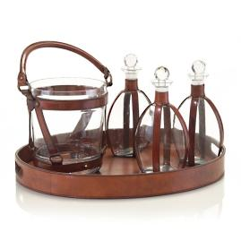 Leather Decanters & Ice Bucket Set