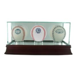 Glass Triple Baseball Display Case