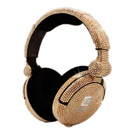 iWave Crystal Headphones with Golden Shadow Swarovski
