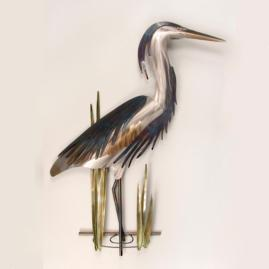 Right-facing Blue Heron Wall Decor by Copper Art