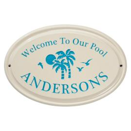 Welcome to Our Pool Ceramic Plaque