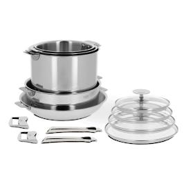 13-pc. Cristel Casteline Stainless Steel Removable Handle