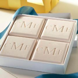 Monogrammed Triple Milled 4-Bar Square Soap Set
