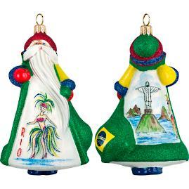 Glitterazzi International Brazil Santa Ornament