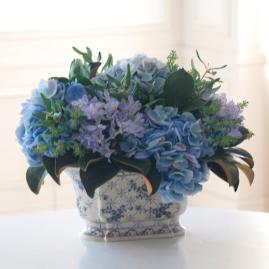 Hydrangea and Olive Leaf Flower Arrangement In Ceramic