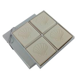 Triple Milled 4-Bar Soap Set with Scallop Shell