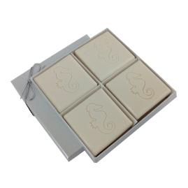 Triple Milled 4-Bar Soap Set with Seahorse