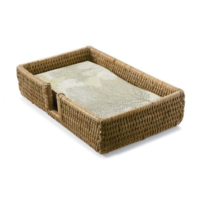 Caspari Rattan Guest Towel Tray With Guest Towels Frontgate