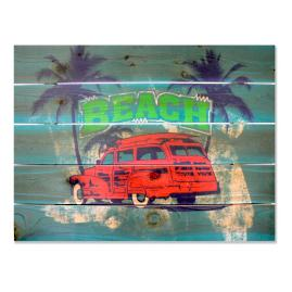 Beach Wagon Cedar Wall Art