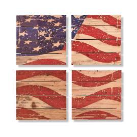 Waving Flag Cedar Wall Art