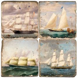 Ships Italian Marble Coasters, Set of Four