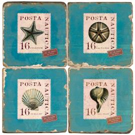 Shell Stamps Italian Marble Coasters, Set of Four