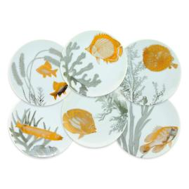 Caskata Aquarium Appetizer Plates, Set of Six