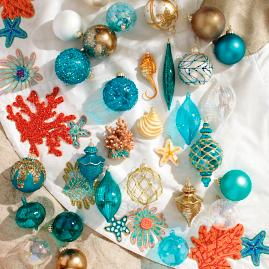 Matte Teal Mini Antique Ornaments, Set of Six