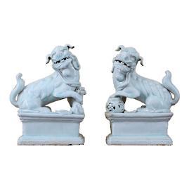 Set of White Porcelain Foo Dogs